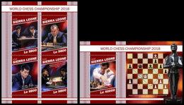 SIERRA LEONE 2018 MNH World Championship 2018 Chess Schach Echecs M/S+S/S - OFFICIAL ISSUE - DH1905 - Echecs