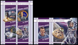 SIERRA LEONE 2018 MNH Alan Shepard Apollo 14 Space Raumfahrt Espace M/S+S/S - IMPERFORATED - DH1905 - Space