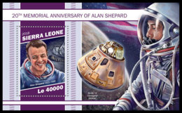 SIERRA LEONE 2018 MNH Alan Shepard Apollo 14 Space Raumfahrt Espace S/S - IMPERFORATED - DH1905 - Space