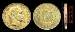 COPIE - 1 Pièce Plaquée OR Sous Capsule ! ( GOLD Plated Coin ) - France - 50 Francs Napoléon III Tête Laurée 1867 BB - France