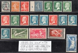 Timbres De L'Année 1919/24 N° 157 à 161/170 à 181/183 à 186 Cote: 186,35 € à 15% De La Cote Neuf * TTB. - France