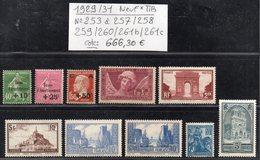Timbre De L'Année 1929/31 N° 253 à 257/258/259/260/261b/261c  Cote: 666,30 € à -16% De La Cote  Neuf * TTB - France