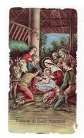 SANTINO Antico Pieuse Image Religieuse Holy Card Gesù BAMBINO NATALE PRESEPE ADORAZIONE  DEI PASTORI - Devotion Images