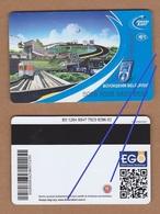 AC - MULTIPLE RIDE METRO, SUBWAY, PASSENGER FERRY & BUS PLASTIC CARD ANKARA  #2, TURKEY PUBLIC TRANSPORTATION - Titres De Transport
