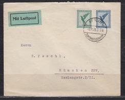 Dt.Reich Luftpostbrief MiF 378,380 O Berlin-Zentralflughafen/8.11.29 Nach München, Rs Transit-o Berlin C L 2 - Briefe U. Dokumente