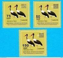 SOUTH SUDAN Surcharged Overprints On 5 SSP Birds Stamps Of The 2nd Set SOUDAN Du Sud Südsudan - Zuid-Soedan