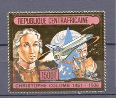 Republique Centrafricaine. Space. Columb. Metal Gold Plated. 1v** - Space