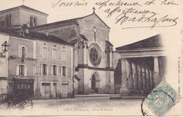 BERG19-  LISLE     EN DORDOGNE PLACE SAINT MARTIN  CALECHE    CPA  CIRCULEE - France