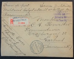Env Recommandé PRISONNIER De GUERRE BELGE INTERNE En HOLLANDE HARDERWYJK Sept 1915 Pour Aarhus Danemark - Marcophilie (Lettres)