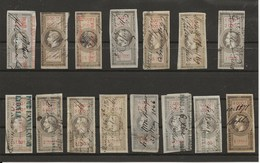 FISCAUX FRANCE EFFET DE COMMERCE TYPE NAPOLEON III LAURE DE BARRE 1864  N°26 à 40 5 C à  5F - Fiscaux
