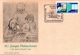 """(DDR-B2) DDR Sonderkarte """"AG Junger Philatelisten 8.OS """"Karl-Liebknecht"""" Suhl"""", EF Mi 1932, SSt. 31.7.1984 SUHL 1 - Briefe U. Dokumente"""