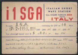 WB79 CARTOLINA QSL 1953  I1SGA RIESE  , CESARE PAROLIN - Carte QSL