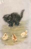 """""""Persis Kirms.Kitten And Chicls. Little Bits Of Fluff Tuck Oilette Persian Oussies Series PC # 3581 - Bertiglia, A."""