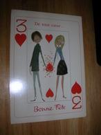 Cpsm 10x15 NV Couple Par Illustrateur Illisible Carte A Jouer 3 De Coeur Jeu De Cartes Pique Carreau Trefle Bon Etat - Non Classés