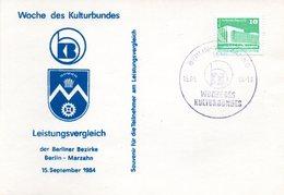 """(DDR-B2) DDR Sonderkarte """"Woche Des Kulturbundes"""", EF Mi 2484, SSt. 15.9.1984 BERLIN MARZAHN - [6] République Démocratique"""