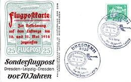 """(DDR-B2) DDR Sonderkarte """"Vor 70 Jahren Sonderflugpost Dresden-Leipzig-Dresden"""", EF Mi 2483, SSt. 10.5.1984 DRESDEN 31 - [6] République Démocratique"""