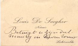 Visitekaartje - Carte Visite - Notaris Louis De Saegher - Lichtervelde - Cartes De Visite