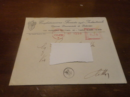 AFFRANCATURA MECCANICA ROSSA 0,10 CENTESIMI SU BUSTA CONFEDERAZIONE FASCISTA DEGLI INDUSTRIALI PALERMO-1937 - Affrancature Meccaniche Rosse (EMA)