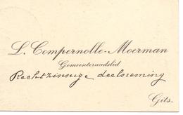 Visitekaartje - Carte Visite - Gemeenteraadslid L. Compernolle - Moerman - Gits - Cartes De Visite