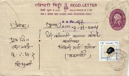 LEAF BEETLE Rs.3 POSTAGE STAMP USED Local Registered COVER NEPAL 2002+ GOOD - Nepal