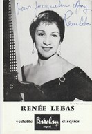 Rare Carte Vedette Barclay Disques Renée Lebas Dédicacée - Autographs