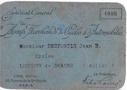 CARTE MEMBRE SYNDICAT GÉNÉRAL AGENTS MARCHANDS DE CYCLES & AUTOMOBILES LOUROUX-DE-BEAUNE 03 ALLIER - Visitenkarten