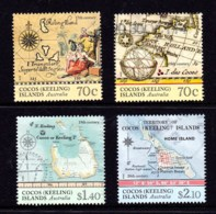Cocos Islands 2014 Ancient Maps Set Of 4 Used - Islas Cocos (Keeling)