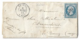 014. LAC Timbre N°14 Bleu Laiteux - Càd Epinal (VOSGES) - 1855 - Postmark Collection (Covers)