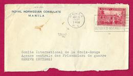 Enveloppe à Entête Royal Norwegian Consulate à Manille Destinée à La Croix Rouge De Genève En Suisse - Philippines