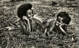New Guinea, Two Young Papua Girls At Rest (1950s) Mission RPPC - Oceania