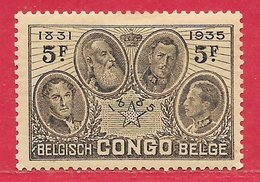 Congo Belge N°191 5F Brun-noir 1935 * - Belgian Congo