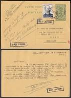 CONGO BELGE EP 1Fr SUR 60c + COB 275 DE ELISABETHVILLE 08/11/1949 PAR AVION VERS MONS (DD) DC-2053 - Entiers Postaux
