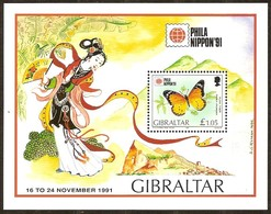 Gibraltar 1991 Yvertn° Bloc 15 *** MNH Cote 6,00 Euro  Fauna Vlinders Papillons Butterflies - Gibraltar
