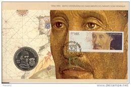 600 Anniversaire Naissance Dom Henrique. Souvenir. Enveloppe + Monnaie - Portugal
