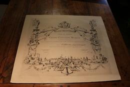 76 DIEPPE SEINE MARITIME DIPLOME MUSIQUE PHILARMONIE CONCOURS GRAILLON ADELINE LITHO - Historical Documents
