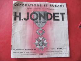 CATALOGUE - H. JONDET - DECORATIONS ET RUBANS - 1935 - Catalogues