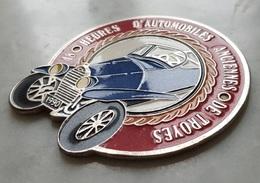 Plaque De Rallye Souvenir 48 Heures D'automobiles Anciennes De Troyes 1990, Rare - Obj. 'Remember Of'