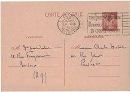 ENTIER POSTAL IRIS 80 C TOULOUSE Vers PARIS Capitaine MICHELET V° CLASSIQUE Ecrit TOULOUSE PP FLAMME CHEQUES POSTAUX - Ganzsachen