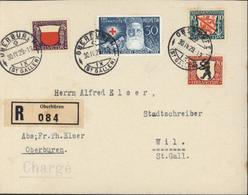 Suisse YT 231 à 234 Pro Juventute Recommandé Oberbüren Chargé CAD Oberburen 30 IV 29 Pour Wil St Gallen I V 29  7 - Briefe U. Dokumente