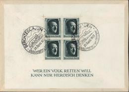 YT 483 Hindenburg 1P Noir CAD Berchtesgaden 20 4 37 Dos Bloc YT 8 4T 6 PF Hitler CAD Berchtesgaden Geburtstag Der Führer - Allemagne