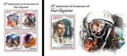 Centrafrica 2018, Space, Yuri Gagarin, 4val In BF+BF - Space