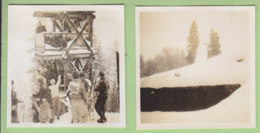 MEGEVE, Noël 1938 : Le Départ Du Tremplin, Le Tremplin. 2 Photos - Lieux