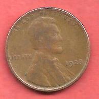1 Cent , One Cent , ETATS UNIS , Bronze , 1928 , LINCOLN - 1909-1958: Lincoln, Wheat Ears Reverse