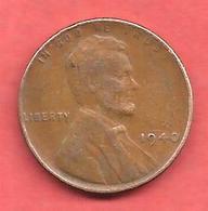 1 Cent , One Cent , ETATS UNIS , Bronze , 1940 , LINCOLN - 1909-1958: Lincoln, Wheat Ears Reverse