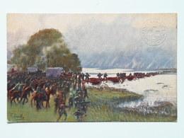 Cascella 10 Croce Rossa Italiana Prima Guerra Pubblicita Pubblicitaria Militare WWI Viaggiato Passaggio Sull Isonzo - Illustratori & Fotografie