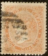 España Edifil 89 (º)  12 Cuartos Amarillo  Isabel II  1867  NL1560 - 1850-68 Kingdom: Isabella II