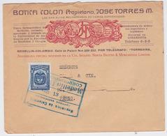 LETTRE COLOMBIE EN-TÊTE BOTICA COLON JOSE TORRES MEDELLIN COLOMBIA MAIL COVER TO PARIS 1928 - Colombia