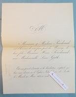1875 Faire Part Mariage PERODEAUD & GUTH - Notre Dame De Lorette - Paris - Mariage