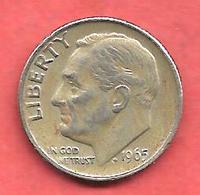10 Cents , One Dime , ETATS UNIS , Cupro-Nickel , 1965 , ROOSEVELT - Émissions Fédérales