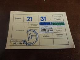 TESSERA ABBONAMENTO MENSILE AMAT  PALERMO- MARCHE-1993 - Europa